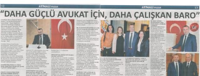 Baro Başkanımız Av. Bülent Şarlan'ın Aynalı Pazar Gazetesiyle yaptığı söyleşi.