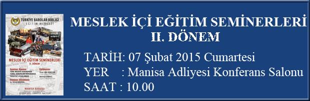 TBB EĞİTİM SEMİNERLERİ II.DÖNEM