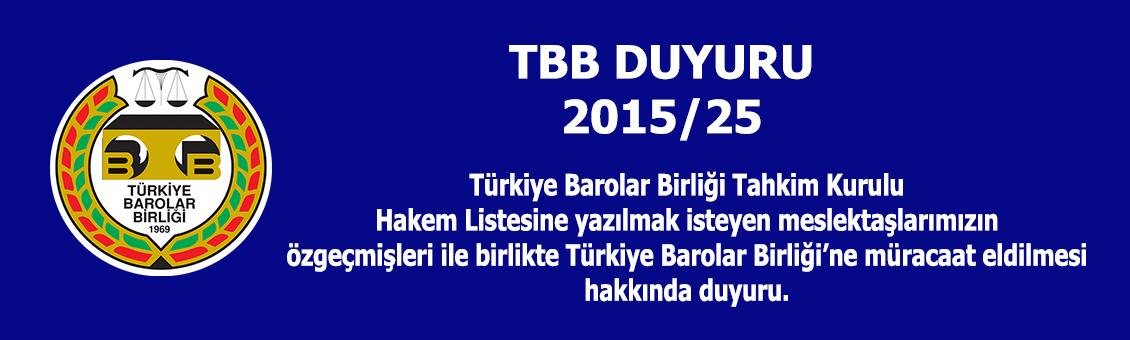 TBB DUYURU 2015/25