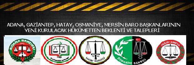 Adana, Gaziantep, Hatay, Osmaniye ve Mersin Baro Başkanları'nın yeni kurulacak hükümetten beklenti ve talepleri;
