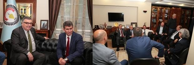 TBB Başkanı Prof. Dr. Metin FEYZİOĞLU ve beraberindeki heyet Kırklareli Belediye Başkanı Mehmet Siyam KESİMOĞLU' nu makamında ziyaret etti.