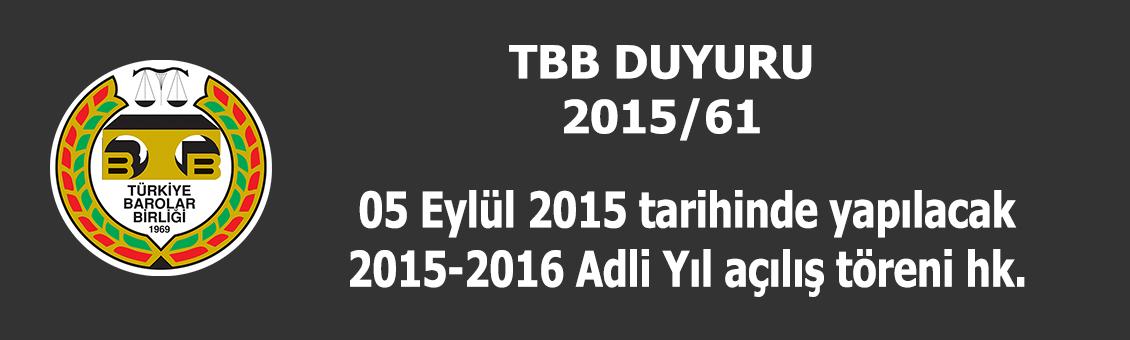 TBB 2015/61 SAYILI DUYURU