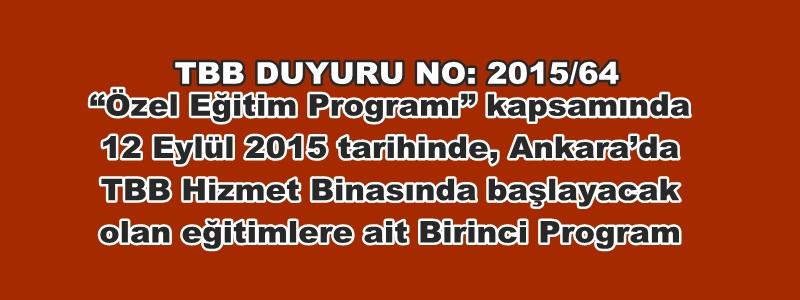 TBB DUYURU NO: 2015/64