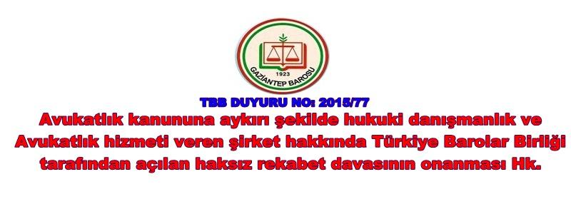 TBB DUYURU NO: 2015/77