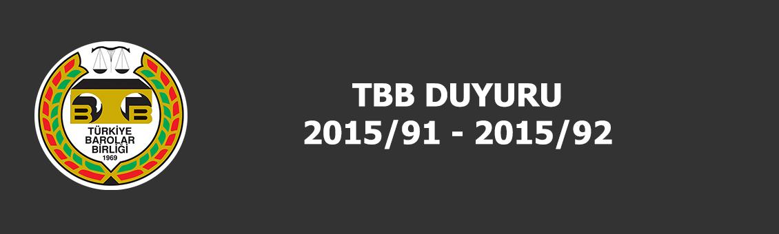 TBB DUYURULARI 2015/91 - 2015/92