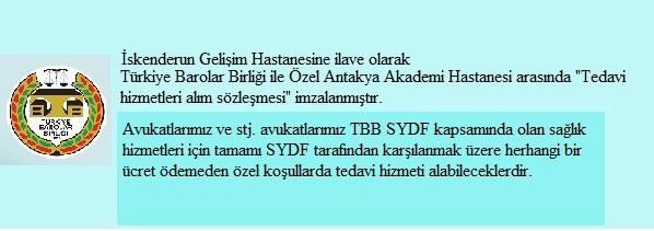 TBB SYDF kapsamında Antakya Özel Akademi Hastanesi ile Yapılan Anlaşma
