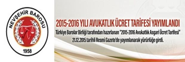 2015-2016 Avukatlık Asgari Ücret Tarifesi
