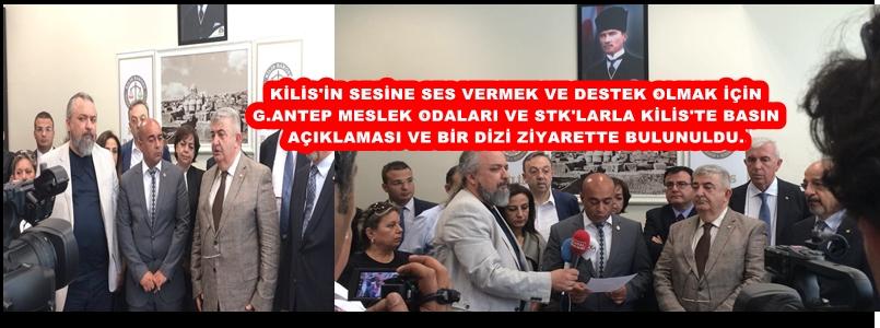 Gaziantep'teki sivil toplum örgütleri ve demokratik kitle örgütleri, roketli saldırıya uğrayan Kilis'e destek verdi.