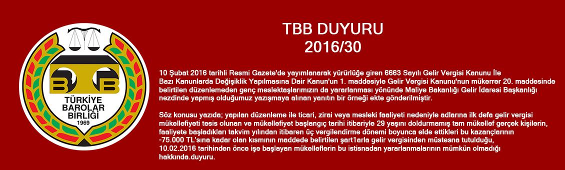 TBB DUYURU 2016/30