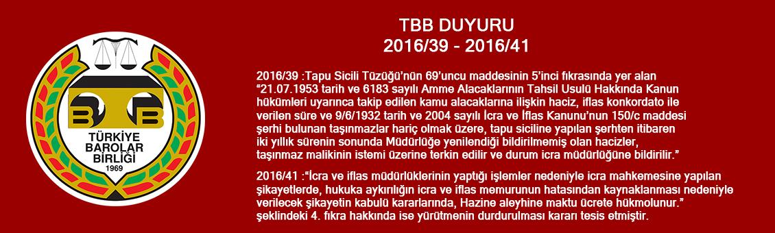 TBB DUYURU 2016/39 - 2016/41
