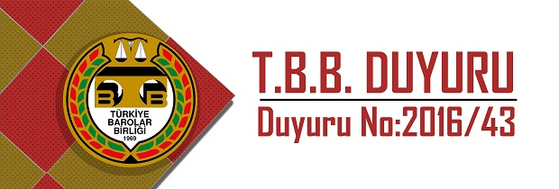 TBB DUYURU NO: 2016/43