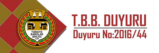 TBB DUYURU NO: 2016/44
