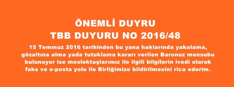 TBB DUYURU NO: 2016/48.
