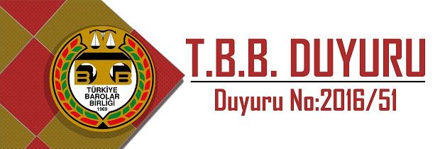 TBB DUYURU NO: 2016/51