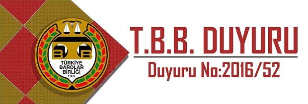 TBB DUYURU NO: 2016/52