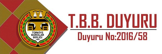 TBB DUYURU NO: 2016/58