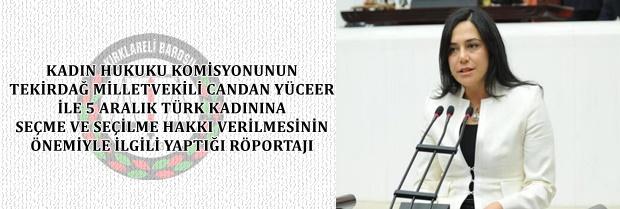 Kadın Hukuku Komisyonunun Milletvekili Sayın Canan YÜCEER ile yaptığı röportajı