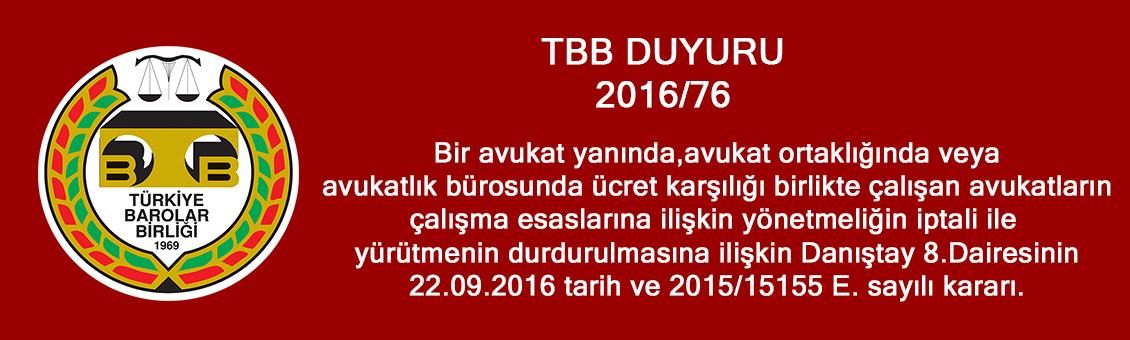 TBB DUYURU 2016/76