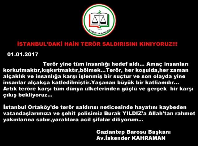 İSTANBUL'DAKİ HAİN TERÖR SALDIRISINI KINIYORUZ!!!