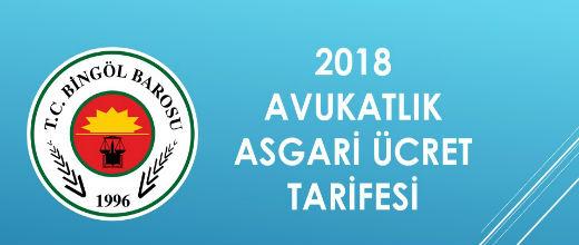 2018 AVUKATLIK ASGARİ ÜCRET TARİFESİ
